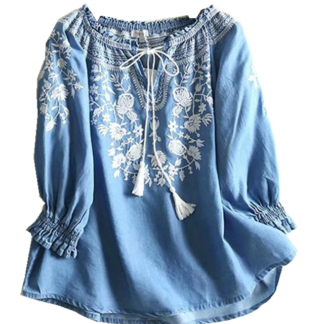 Vintage Style Boho Chic Shirt Blouse for Women Floral Embroidery  Neck Ties Beach Bohemian Denim Top